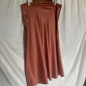 Burnt orange satin material midi skirt